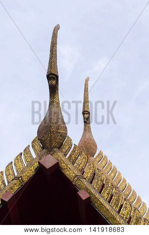 gable apex on the Buddhist temple roof