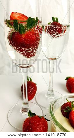 A champagne with strawberries a splashy refreshment