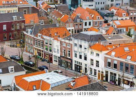 Delft, Netherlands - April 6, 2016: Aerial panoramic downtown street view with houses in Delft, Holland