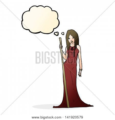 cartoon sorceress  with thought bubble