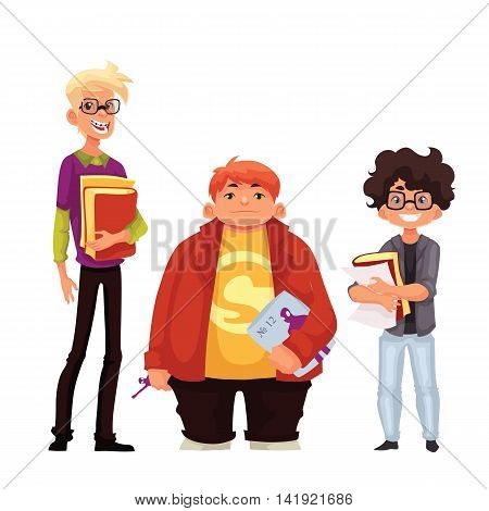 illustration of cartoon style nerd schoolboys isolated on white background. Group of nerd school boys teenagers students with book and glasses.