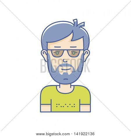 Man face expression avatar icon. Vector linear boy avatars