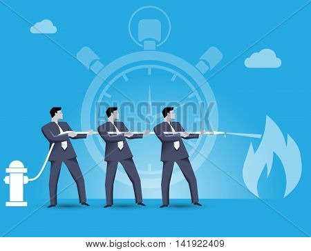 Business concept of teamwork and business team fighting crisis together. Three businessmen trying to extinguish the fire of crisis working together under time pressure.