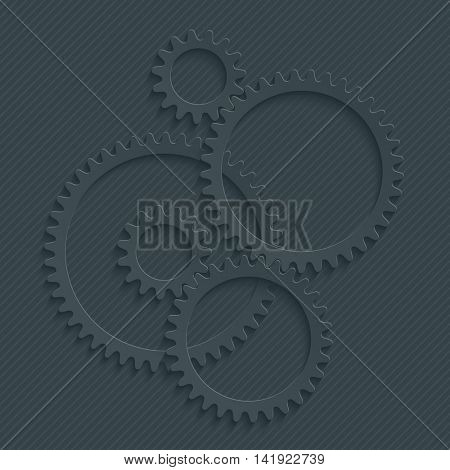 Gears ( Cog wheels ) set with 3d effect on white background. Teamwork concept symbol. Vector EPS10.