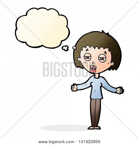 cartoon suspicious woman with thought bubble