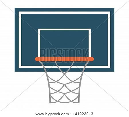 flat design basketball backboard and net icon vector illustration