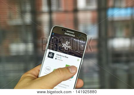MONTREAL CANADA - JULY 15 : Adobe La Rue application on Samsung s7 screen. Adobe La Rue is the app for intersecting passion of cycling and business.