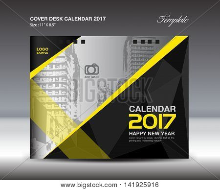 Desk Calendar for 2017 Year, Black and yellow Cover Desk Calendar, leaflet, vector, Brochure flyer, poster, advertisement, book