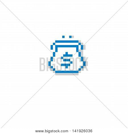 Vector Pixel Icon Isolated, 8Bit Graphic Element. Wallet, Fashion Accessory, Simplistic Digital Sign