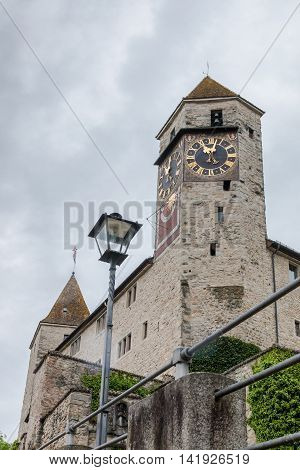 View of Rapperswil Castle in Switzerland on overcast day. poster