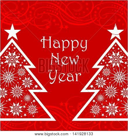 Reb happy new year card with christmas trees