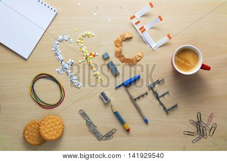 Office life inscription on a wooden desk laid out of stationery. Clerk's weekdays. Daily routine