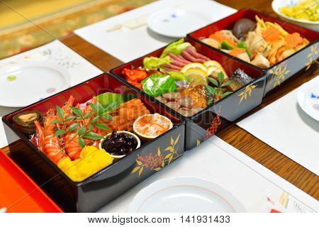 Osechi is a traditional meal eaten on New Year in Japan.