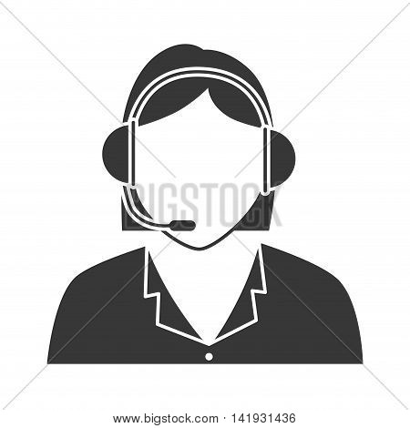Callcenter woman headset , isolated flat icon design