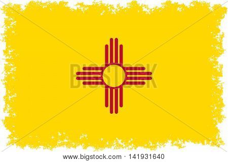 State flag of New Mexico with distressed edges