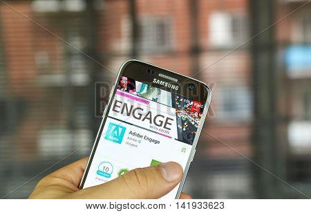 MONTREAL CANADA - JULY 15 : Adobe application on Samsung s7 screen. Adobe Engage is the Adobe Partner Program magazine.