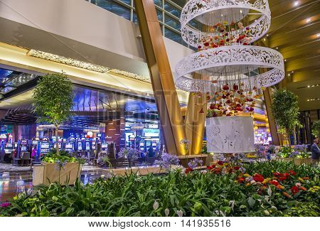 LAS VEGAS - JUNE 14 : The Aria Resort and Casino in Las Vegas on June 14 2016. The Aria is a luxury resort and casino opened on 2009 and is the world's largest hotel to receive LEED Gold certification