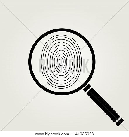 Icon of human fingerprint with magnifier . Investigation concept vector illustration.