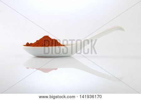 Finely ground smokey paprika on a white spoon.