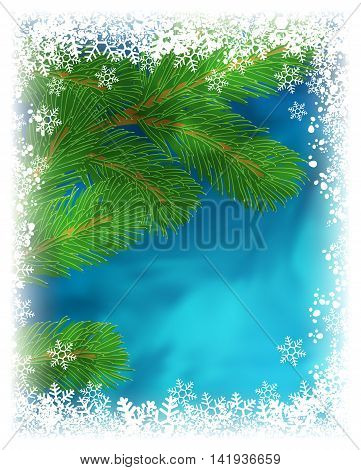Winter holiday greeting card. Vector illustration with green pine branch on textured blue background with frame of white snowflakes. Frozen window effect