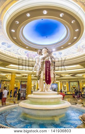LAS VEGAS - JUNE 22 : The Caesars Palace hotel and casino on June 22 2016 in Las Vegas. The Caesars Palace celebrates the 50th Anniversary With Walking Tour Photo Exhibit Marquee Events And More