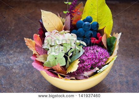 Autumn Bouquet with leaves, flowers and fruits, Colors of Fall, Autumn decoration