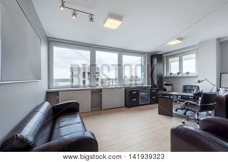 Modern office interior design with stylish furniture