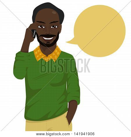Attractive baldheaded african american hipster man talking on the smartphone