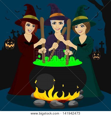 three halloween young witches making a potion