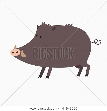 Wild boar or wild pig cartoon isolated on white background