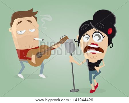 guitarist and female singer acting together