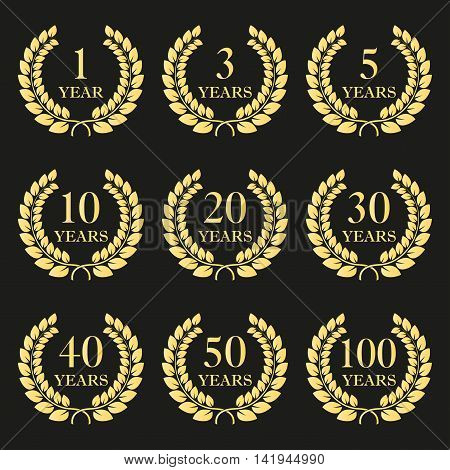 Anniversary laurel wreath icon set isolated on dark background. 1, 3, 5, 10, 20, 30, 40, 50, 100 years. Template for award and congratulation design. Vector illustration.
