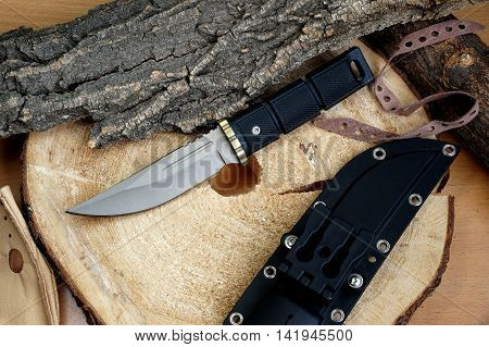 Knife hunting tourist Japanese production with a blade from the titan