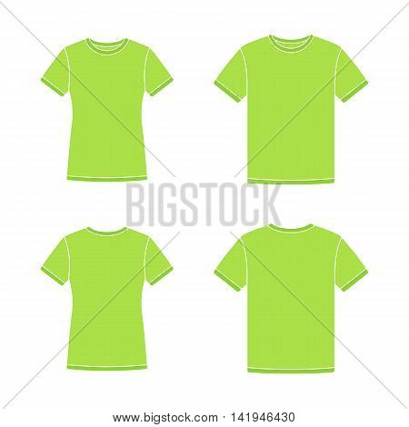 Mens and womens green short sleeve t-shirts templates. Front and back views. Vector flat illustrations