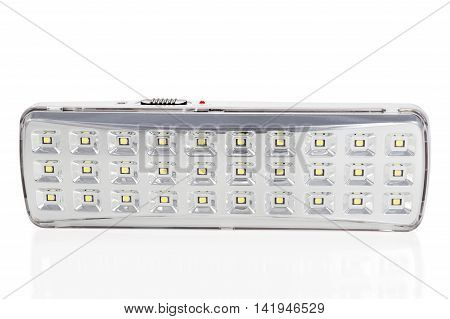 LED luminaire of a plurality of lamps with the switch and charging indicator isolated on a white background