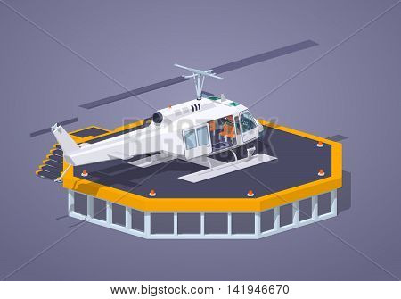 Heli pad against the purple background. 3D lowpoly isometric vector illustration