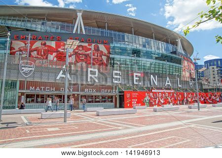 London/UK. 8th June 2016. An exterior capture of the Emirates Stadium in London in the close season. The stadium is the home of Arsenal Football Club