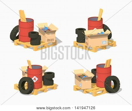 Pile of trash. 3D lowpoly isometric vector illustration. The set of objects isolated against the white background and shown from different sides