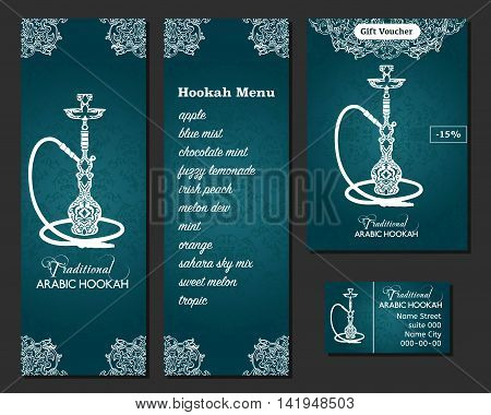 Vector illustration of a menu for a restaurant or cafe Arabian oriental cuisine with hookah business cards. Hand-drawn islamic flower pattern