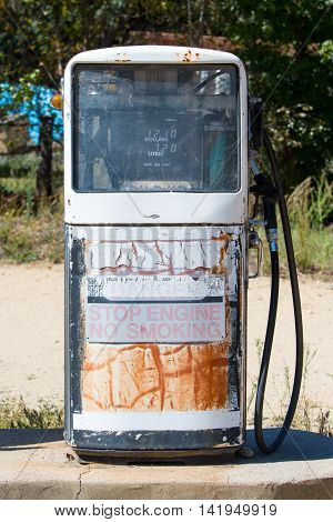 Disused petrol pumps in Dalgety, New South Wales, Australia