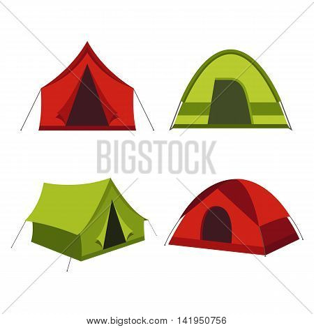 Camping tent vector icons isolated on white background. Set of tourist camp tents in red and green colors.