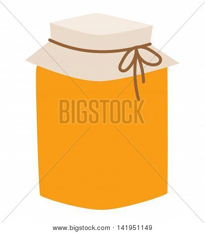 Glass jar of honey isolated on white background sweet food vector. Yellow honey jar and glass pack. Natural delicious healthy honey jar. Healthy nutrition golden honey.