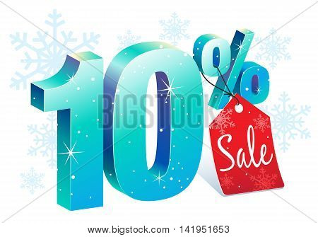 Winter Shopping 10 Percent Off Sale Discount Ice Sign with Price Tag