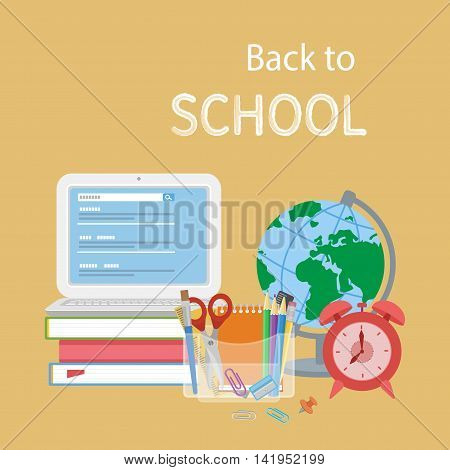 Back to school text. Open laptop with search form, textbooks, alarm clock, globe, stationery, notebook, pencils, scissors. Flat Style Education Concept. Vector illustration.