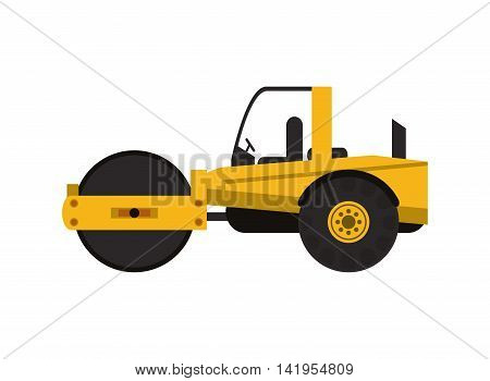 flat design industrial steamroller icon vector illustration