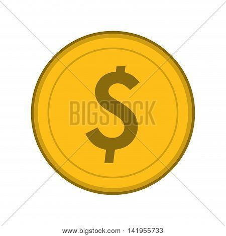 flat design dollar coin icon vector illustration