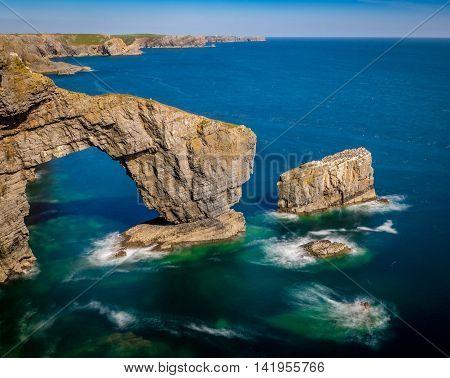 The Green Bridge of Wales, Pembrokehire. Wales A famous landmark on the Pembrokeshire coast