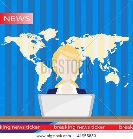 Anchorman on tv broadcast news. Anchorman flat vector illustration. Anchorman with the release of breaking news. poster