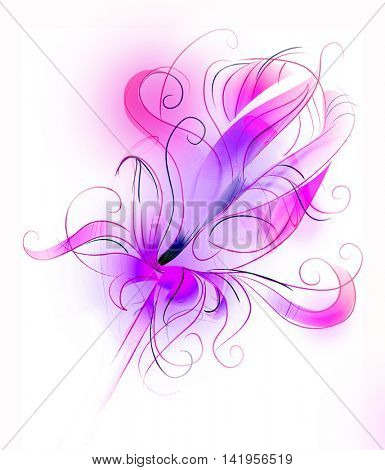 Abstract purple flower over white background - artistic sketch illustration