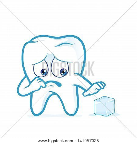Clipart picture of a sensitive tooth cartoon character scared of a ice